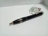 ingrosso migliori opzioni-MB-High Quality Best Design Corpo in cristallo testa nera con clip argento Penna a sfera e penna roller per il miglior regalo di shooloffice