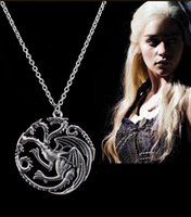 Wholesale Song Ice - Game of Thrones Pendant Necklaces Stormborn Targaryen A Song of Ice and Fire Dragon pendant necklace GT0002