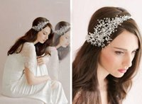 Wholesale Tiaras Hair Bands - New 2015 Bridal Band Tiaras Sparking Beading Pearls Crystal Wedding Accessories Bridal Hair Accessories Dhyz 01