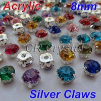 Wholesale Acrylic Flat Back Rhinestones 8mm - Wholesale-AAA 8mm 200pcs Mix Colors Superior Taiwan Acrylic Flat Back Stones Round Shape Sew On Acrylic Rhinestone With Silver Claws