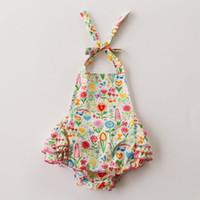 Wholesale Girl Romper Flower Skirt - 2016 NEW baby girl toddler 2piece set outfits flower romper onesies jumper dress tutu skirt Cotton pajamas + bowknot headband headwrap 6