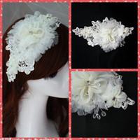 Wholesale hairs accesories - European Fashion 2015 Wedding Bridal Hair Accesories Crystal Adorned Bridal Flowers Headpiece White Headwear Tiaras Made In China