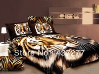 Wholesale Manly Comforter Sets - Wholesale-Tiger animal print bedding bed set MANLY egyptian cotton full queen duvet cover flat sheet pillowcase bedclothes comforter sets