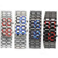 Wholesale Led Watch Metal - Mens Womens Lava Style Iron Samurai LED Metal Watch Electronics Watches Faceless Bracelet Fashion Wristwatch Stainless Steel Wristwatches