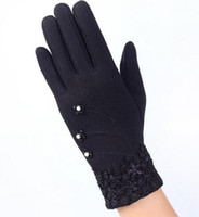 Wholesale Orange Lace Gloves - Fashion Elegant Womens Touch Screen Gloves Winter Ladies Lace Warm Cashmere Bow Full Finger Mittens Wrist Guantes Gift