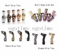 Wholesale Ego Vapour - Drip Tip Skull, Skull with hat, Cobra, Dragen Head Drip Tips Inhaler Metal Mouth piece for Vapour E Cigarette Ego glass Atomizer mod 510 DCT
