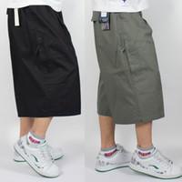 büyük erkekler kargo pantolon toptan satış-Artı Boyutu Büyük Yağ Mens Uzun Kargo Şort Buzağı Uzunlukta Pamuk Düz Pantolon Rahat Yaz Gevşek Kırpılmış Pantolon 4XL 5XL 6XL