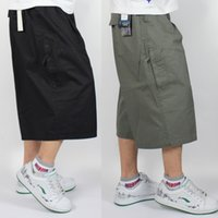 Wholesale Yellow Cargo Shorts Mens - Plus Size Big Fat Mens Long Cargo Shorts Calf-Length Cotton Straight Pants Casual Summer Loose Cropped Trousers 4XL 5XL 6XL