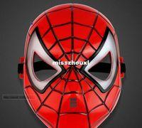 jouets spiderman bleu achat en gros de-2000 pcs Cartoon Anime Nouveauté Spiderman Masque Avec Bleu LED Yeux Maquillage Halloween Masque Rouge Enfants Jouets Cadeaux Halloween Mascarade Masque
