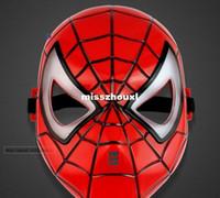 ingrosso giocattoli blu spiderman-2000pcs Cartoon Anime Novità Maschera di Spiderman con occhi blu LED Trucco Maschera di Halloween Rosso Giocattoli per bambini Regali Maschera di Halloween Masquerade