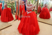 Wholesale High Neck Rhinestone Prom Gown - New Arrival 2015 Sexy Ball Gown Organza Crystal Rhinestones Prom Party Gown Floor -Length Prom Dresses Party Dresses Evening Dresses