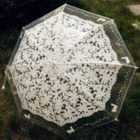 Wholesale Transparent Lace Fabric - Long Handle Umbrellas Romantic Imitation Lace Cute Cat Transparent Umbrella Outdoor Supplies For Creative Gift 12md C R