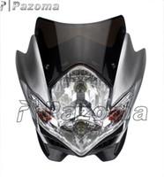 Wholesale Kawasaki Klx - PAZOMA Silver Dirt Bike Motorcycle Universal Vision Headlight Street Fighter Headlamp Headlight YZF XR KLX DR