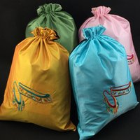 Wholesale Large Shoe Storage Bags - Large Embroidered Satin Fabric Drawstring Pouch Portable Storage Dance Shoe Bag Reusable Protection Cover Gift Packaging Bags 27 x 35cm