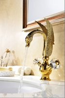 Wholesale Swan Faucet Crystal Handles - Free shipping Gold finish PVD bathroom basin sink swan mixer faucet crystal double handles