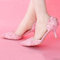 Wholesale Sweet Pumps - Fashion Pink Lace Proms Wedding Women Bridal Elegant Sweet Evening Shoes Women Pumps Valentine Prom Party Shoes