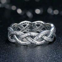 Wholesale Fate Rings - Twist of Fate Braided Pave Silver Rings with Cubic Zirconia Original Pandora Style Promise Engagement Rings for Women R061