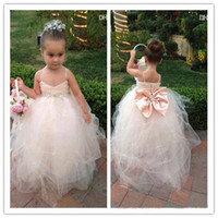 Wholesale Online Kids Dresses - LM 2018 New Real photo Kids Girl's Pageant Dresses Back bow beads Online Shopping Flower Girl Dress With Spaghetti Straps Draped