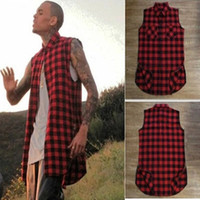Casual Shirts oversized king - Tyga L K Hip hop gold side zipper oversized plaid flannel shirt tee men casual zippper red plaid tartan last king Tee shirt