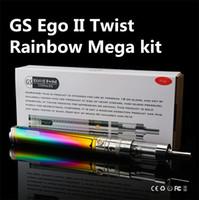 Wholesale gs ego twist mega kit for sale - Group buy GS Ego II Twist Mega Kit Rainbow Ecigarette with Vape V V Variable Voltage mAh battery V Core III ml Glass Tank atomizer