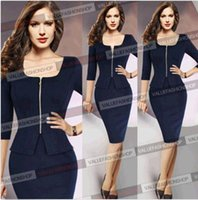 Wholesale Modern Women Office Dress - 2015 Women Summer Elegant Ladies' Sexy Prom Office Dresses V-Neck Fashion Celebrity Pencil Work Pocket Party Slim Bodycon