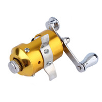 Wholesale Fishing Reels Ship - Mini Pocket Pen Fish Drum High Hard Alloy Outdoor Fishing Reel Drum Wheel Speed Ratio 2.1:1 Golden Dia 2.7cm free shipping
