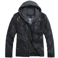 Wholesale Men S Leather Jacket 4xl - Fall-2016 THOOO new wholesale Short Hooded PU leather jacket Blacks MEN'S JACKET coat