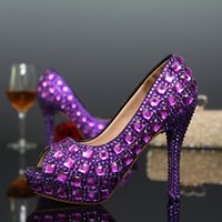 peep toe kegel fersen großhandel-Mode Neue Frauen High heels Pumps Peep Toe Sexy Kristall Strass Schuhe Plattform Cone Heels Hochzeitskleid Schuhe Lila Farbe Party Schuhe