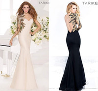 Wholesale One Shoulder Long Sleeve Gold - Tarik Ediz 2015 Evening Dresses One Shoulder Long Sleeve Sheer Backless Gold Bling Sequins Mermaid Glamorous Formal Prom Gowns