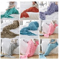 Wholesale red sleeping bag online - 60 CM Mermaid Sleeping Bag Adult Blanket Crochet Mermaid Tail Blanket Sleeping Sofa Blankets Christmas Gifts KKA2771