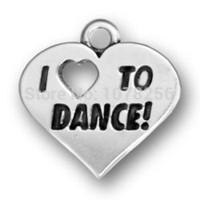 Wholesale Wholesale I Love Dance Charms - 100pcs lot zinc alloy antique silver i love to dance heart charms for dancer