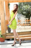 Wholesale Neon Green Girls Dress - Wholesale-Clearance College Girls Cue Dree Jupe Neon Green Lace Floral Dress vestidos casual Dresses women renda summer cheap clothes Robe
