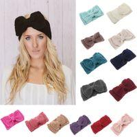 Wholesale Crochet Bows Wholesale - Knitted Women Headbands Kids Fashion Handmade big Bow Hair Accessories Wool Crochet Headband E275