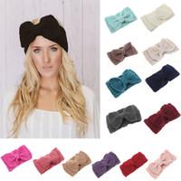 büyük örme baş bantları toptan satış-Örme Kadın Headbands Çocuk Moda El Yapımı büyük Yay Saç Aksesuarları Yün Tığ Kafa E275