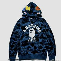 Wholesale Generations Designs - The latest 2017 kanyes West design and sales of ape tide brand APE shark head camouflage hoodie with a generation of fat men and women Stree