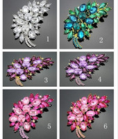 Wholesale Wholesale Accessories China 18k - 7.5*5cm Size Fashion Accessories Small purple Flower Clusters Leaf Resin Rhinestone Brooch Pin For Wedding Bridal DB