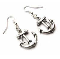 silber 925 anker großhandel-Anker-Seecharme-Tropfen / baumeln Ohrringe 925 silberne Fisch-Ohr-Haken 50pairs tibetanische silberne Leuchter-Ohrring-Schmucksache-Geschenk HEISSES N1501