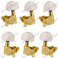 Wholesale Gold Tuning Heads - A Set of 6 Pcs Gold Sealed-gear Guitar String Tuning Pegs keys Tuners Machine Heads - Big Semicircle White Button 3R3L