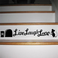 Freeship Live Laugh Love Mouse Hole Etiquetas de la pared Decoraciones de los cuartos de baño Diy Vinyl Home Decal Animal Cartoon Mural Art