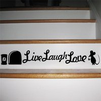 Freeship Live Laugh Love Mouse Hole Stickers muraux Décorations de repos Diy Vinyl Home Decal Animal Cartoon Mural Art