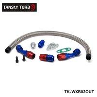 ingrosso linee di petrolio-TANSKY - KIT RITORNO DI RITORNO OLIO TURBO ad alte prestazioni + ATTACCO 10AN PER TURBOCHARGER T3 / T4 GT45 T04 TK-WXB02OUT