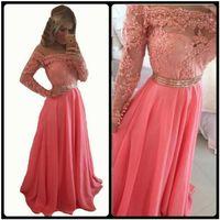 Wholesale Plus Size Prom Dresses Online - Gorgeous Woman Long Sleeve Chiffon Long Prom Dresses 2016 Elegant Lace Top Pearls Vestido De Festa Longo Cheap Evening Dresses Online