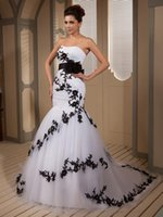 Wholesale Empire Lace Strapless Wedding - Fabulous Vintage Black And White Wedding Dresses Real Photo Applique Backless Elegant Mermaid Wedding Dress Corset Strapless Bridal Gowns