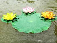 ingrosso serbatoio di loto-Fiore artificiale foglia di loto materiale eva serbatoio di acqua decorazioni per piscine verde pianta artigianato per giardino decorazioni per la casa spedizione gratuita