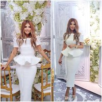 Wholesale Cheap Chic Long Evening Dresses - White Chic Sexy Arabic 2018 Evening Dresses Bateau Sheath Tea Length Satin Prom Dresses Cheap Formal Party Gowns cocktail dresses