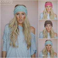 Wholesale Stretch Knit Headband - Fashion Womens Adult Lady Crochet Winter Autumn Knit Headbands Warm Hoop Wide Plait Headbands ear warmer Wool Stretch Hair Bands WHA01