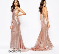 Wholesale Affordable Bridesmaid Dresses Lavender - Rose Gold Sequined Criss-cross Bridesmaid Dresses Long Floor Ruffles Skirt Train Affordable Evening Dresses Simple Elegant Formal Dresses