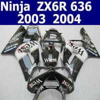 ingrosso zx per la vendita-Kit corpo vendita calda per carene kawasaki ZX6R nero bianco 2003 2004 Ninja ZX-6R kit carene 03 04 ZV1