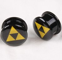 Wholesale 5mm Plugs Tunnels - Oil Drop Logo Acrylic Ear Plug Flesh Tunnel Body Jewelry 4mm 5mm 6mm 8mm 10mm 12mm 14mm 16mm