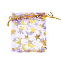 Wholesale Gold Star Organza Gift Bags - Wholesale-25PCs 7x9cm Purple Gold Star&Moon Organza Gift Jewelry Bags Wedding Christmas Favor (Over $110 Free Express)